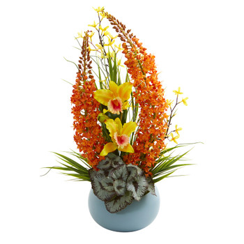 23 Cattleya Orchid and Fox Tail Artificial Arrangement in Blue Vase - SKU #1704