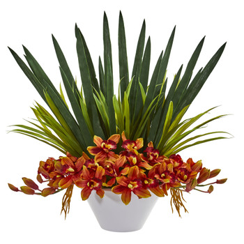 Cymbidium Orchid Artificial Arrangement in White Bowl - SKU #1705-BG