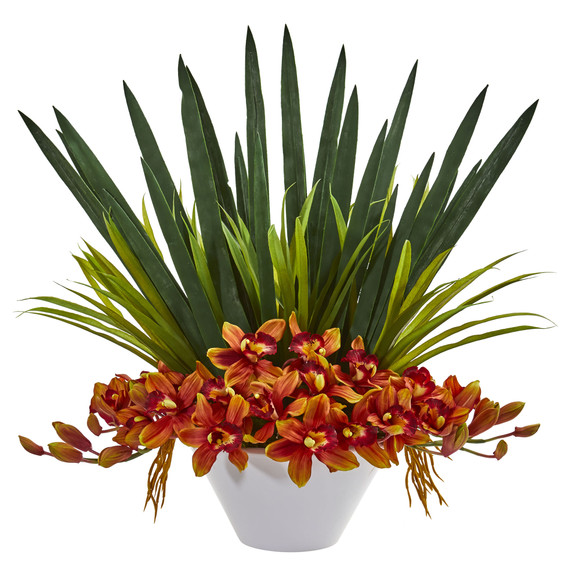 Cymbidium Orchid Artificial Arrangement in White Bowl - SKU #1705 - 2