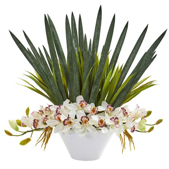 Cymbidium Orchid Artificial Arrangement in White Bowl - SKU #1705