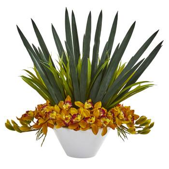 Cymbidium Orchid Artificial Arrangement in White Bowl - SKU #1705