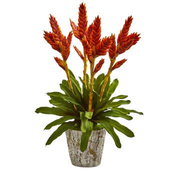 Tropical Bromeliad Artificial Arrangement in Weathered Planter - SKU #1706