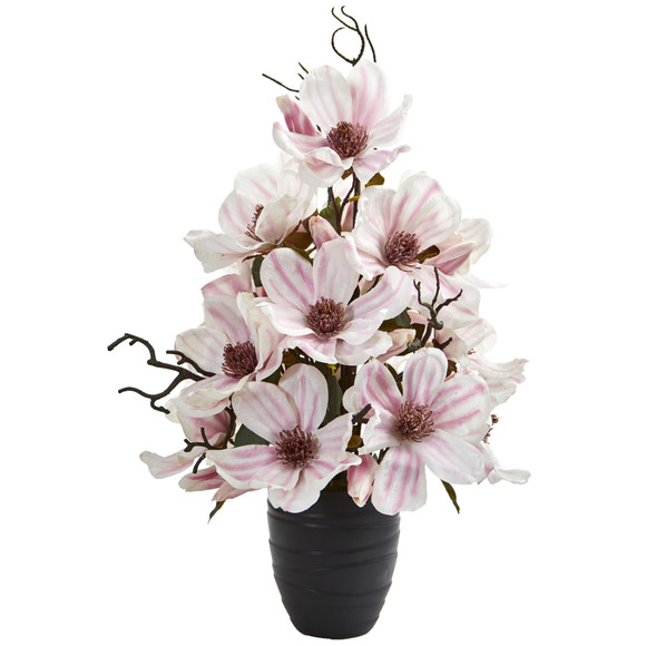 Magnolia Artificial Arrangement in Black Vase - SKU #1707