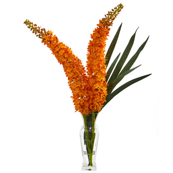 Fox Tail Artificial Arrangement in Glass Vase - SKU #1708-OR