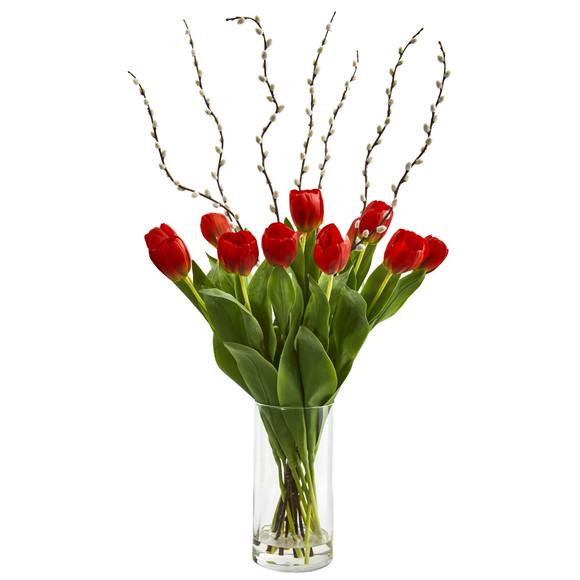 Tulips Artificial Arrangement in Cylinder Vase - SKU #1709-RD