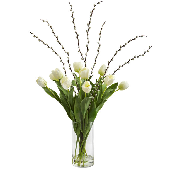 Tulips Artificial Arrangement in Cylinder Vase - SKU #1709 - 2