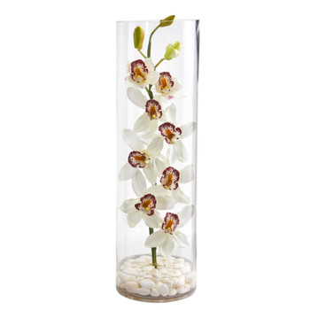 Cymbidium Orchid Artificial Arrangement in Tall Cylinder Vase - SKU #1710-WH