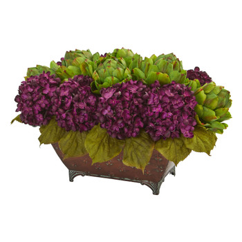 Hydrangea Artichokes Artificial Arrangement in Metal Planter - SKU #1711