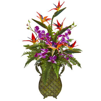 Bird of Paradise Orchid and Fern Artificial Arrangement in Metal Planter - SKU #1712