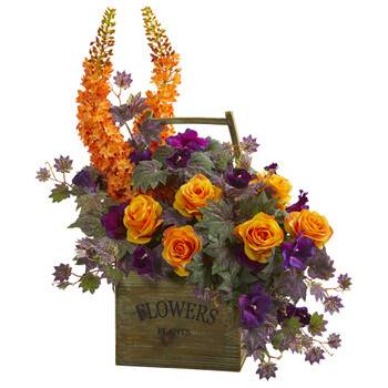 Roses Fox Tail and Morning Glory Artificial Arrangement - SKU #1713