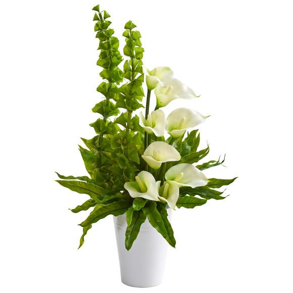 23 Calla Lily and Bell of Ireland Artificial Arrangement - SKU #1721-CR