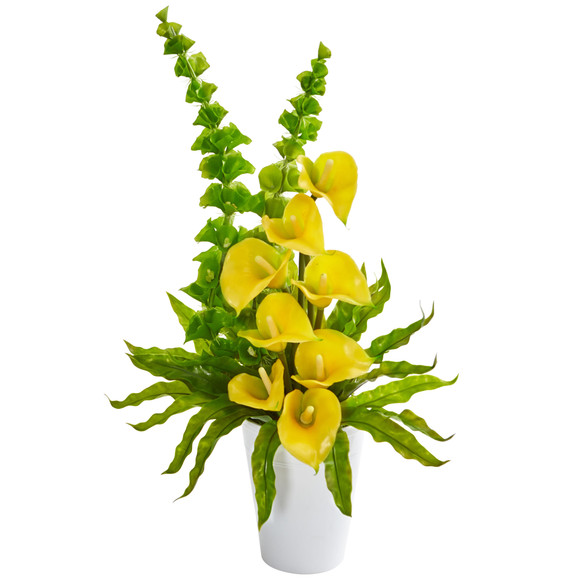 23 Calla Lily and Bell of Ireland Artificial Arrangement - SKU #1721 - 2