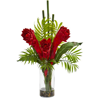 Ginger Torch Artificial Arrangement in Cylinder Vase - SKU #1723