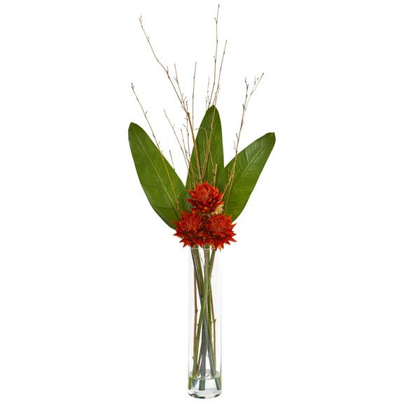 3.5 Tropical Artificial Arrangement in Cylinder Vase - SKU #1724 - 1