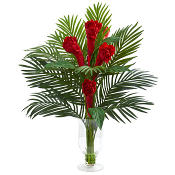 Ginger Torch Artificial Arrangement in Glass Vase - SKU #1725