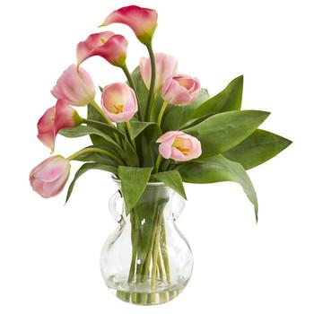 Calla Lily Tulips Artificial Arrangement in Decorative Vase - SKU #1726