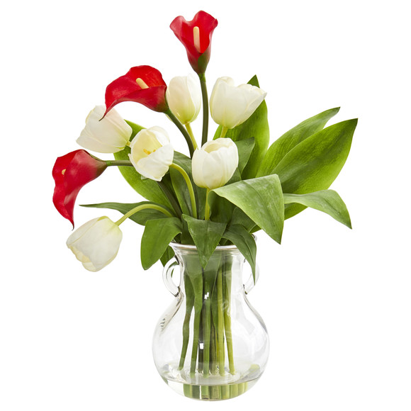 Calla Lily Tulips Artificial Arrangement in Decorative Vase - SKU #1726 - 3