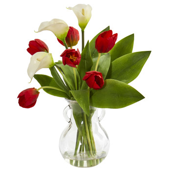 Calla Lily Tulips Artificial Arrangement in Decorative Vase - SKU #1726-WH