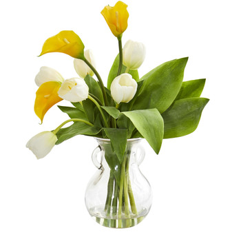 Calla Lily Tulips Artificial Arrangement in Decorative Vase - SKU #1726