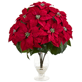Poinsettia Artificial Arrangement in Glass Vase - SKU #1727