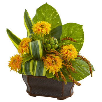 Sunflowers Artificial Arrangement in Black Planter - SKU #1730