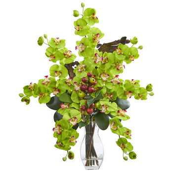 Phalaenopsis Orchid Mini Apple Artificial Arrangement - SKU #1731-GR