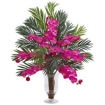 Phalaenopsis Orchid and Areca Palm Artificial Arrangement - SKU #1732