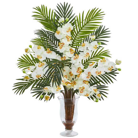 Phalaenopsis Orchid and Areca Palm Artificial Arrangement - SKU #1732 - 5