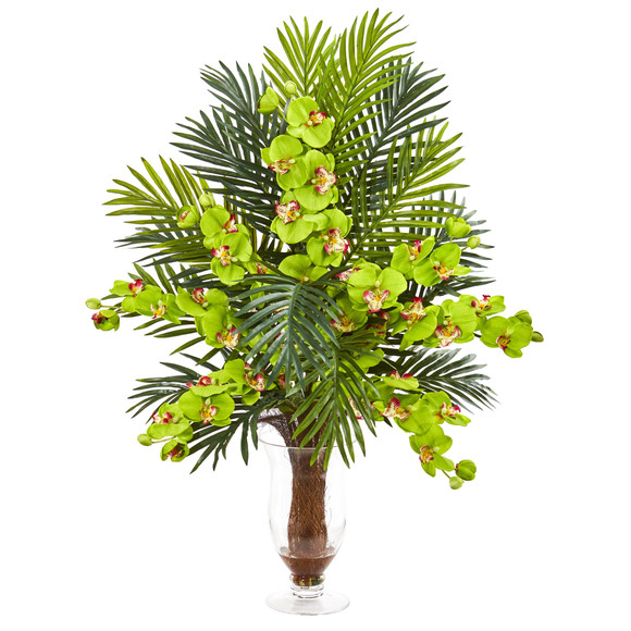 Phalaenopsis Orchid and Areca Palm Artificial Arrangement - SKU #1732 - 7