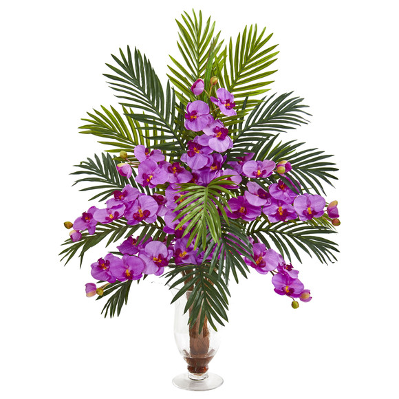 Phalaenopsis Orchid and Areca Palm Artificial Arrangement - SKU #1732 - 6