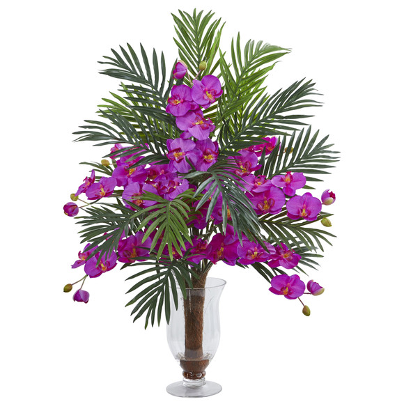 Phalaenopsis Orchid and Areca Palm Artificial Arrangement - SKU #1732 - 1
