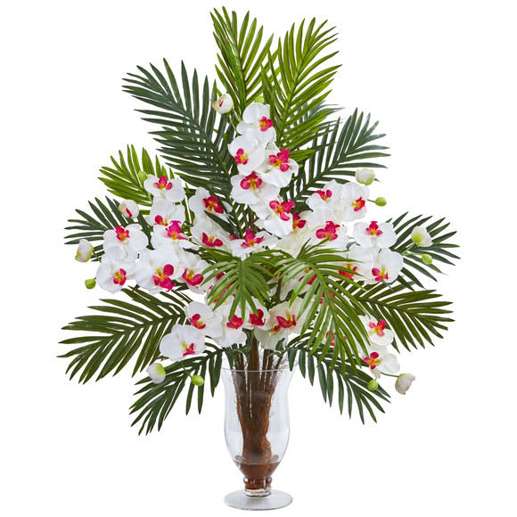 Phalaenopsis Orchid and Areca Palm Artificial Arrangement - SKU #1732 - 2