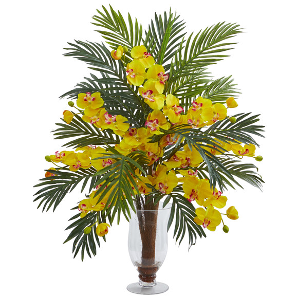 Phalaenopsis Orchid and Areca Palm Artificial Arrangement - SKU #1732 - 4