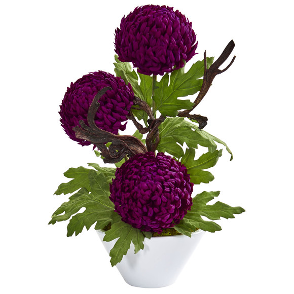 Mum Artificial Arrangement in Decorative Bowl - SKU #1733