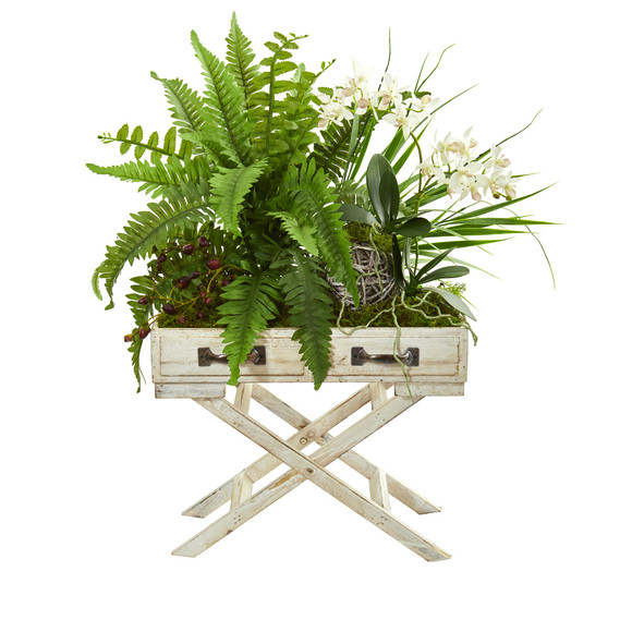 25 Phalaenopsis Orchid Fern and Mixed Greens Artificial Arrangement in Drawer Planter - SKU #1734