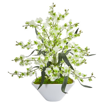 Dancing Lady Orchid Artificial Arrangement in White Vase - SKU #1736-GR