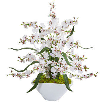 Dancing Lady Orchid Artificial Arrangement in White Vase - SKU #1736