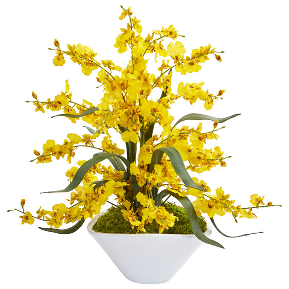 Dancing Lady Orchid Artificial Arrangement in White Vase - SKU #1736 - 2