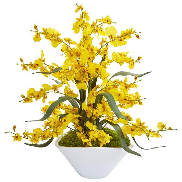 Dancing Lady Orchid Artificial Arrangement in White Vase - SKU #1736 - 1