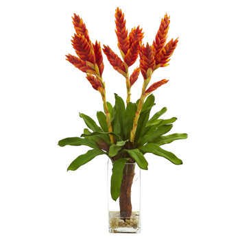 Tropical Bromeliad Artificial Arrangement in Glass Vase - SKU #1738