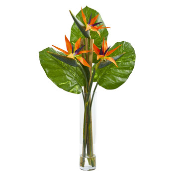 Bird of Paradise Artificial Arrangement in Cylinder Vase - SKU #1739