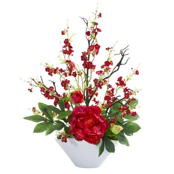 Cherry Blossom Peony Artificial Arrangement - SKU #1741