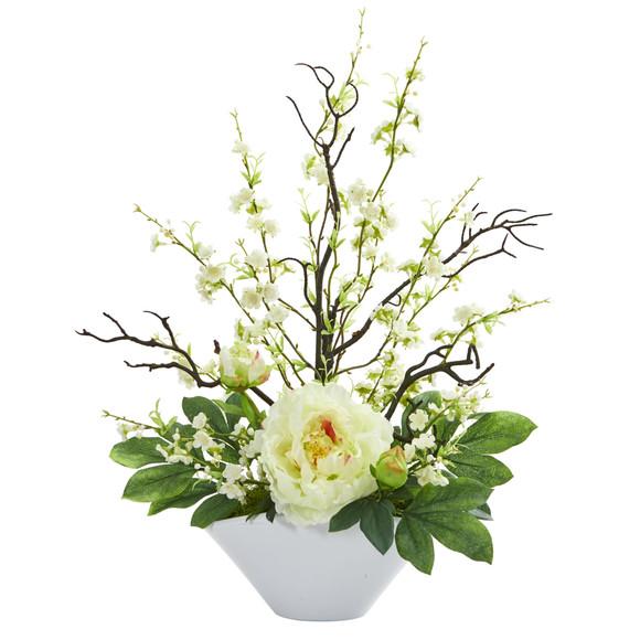 Cherry Blossom Peony Artificial Arrangement - SKU #1741 - 1