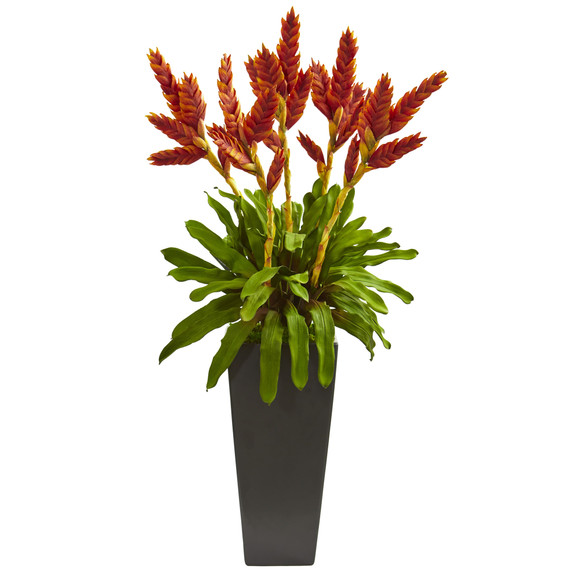 Tropical Bromeliad Artificial Plant in Black Vase - SKU #1746