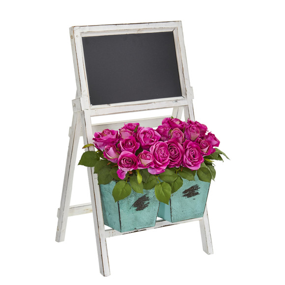 26 Rose Artificial Arrangement in Farmhouse Stand with Chalkboard - SKU #1750