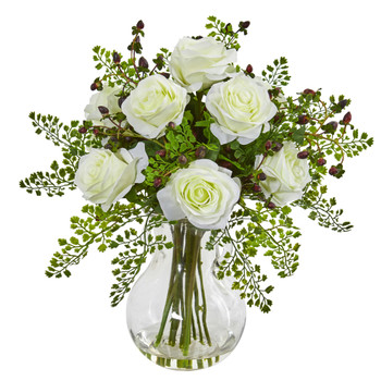 Roses Maiden Hair Artificial Arrangement in Glass Vase - SKU #1751-WH