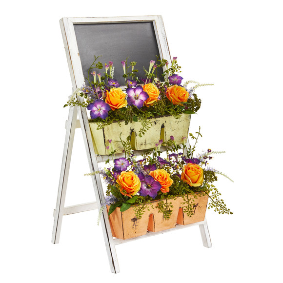 31 Roses Morning Glory Artificial Arrangement in Farmhouse Stand with Chalkboard - SKU #1753