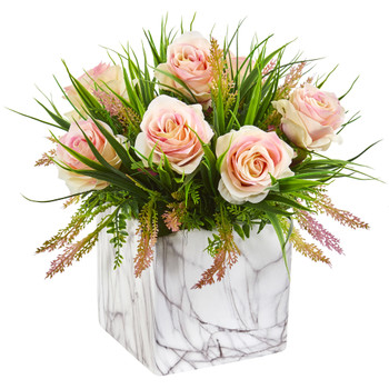 Roses Grass Artificial Arrangement in Marble Finished Vase - SKU #1754