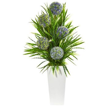 3 Ball Flower Grass Artificial Arrangement in Planter - SKU #1755