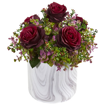 13 Roses Eucalyptus Artificial Arrangement in Marble Finished Vase - SKU #1756-BG